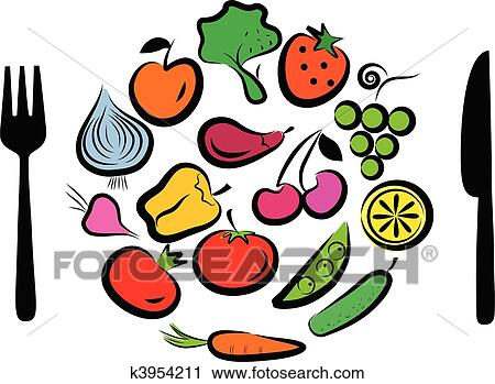 Clipart Of Different Fruits And Vegetables Combined In