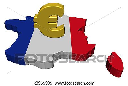 Banque d'Illustrations - france, carte, drapeau, à, euro symbole ...