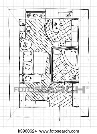 Clipart of Interior design apartments top view k3960624 Search