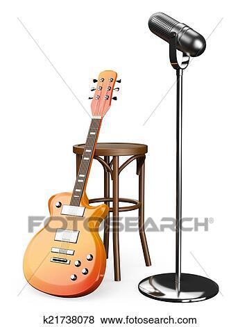 Colecci n de ilustraciones 3d guitarra el ctrica for Taburete para tocar guitarra