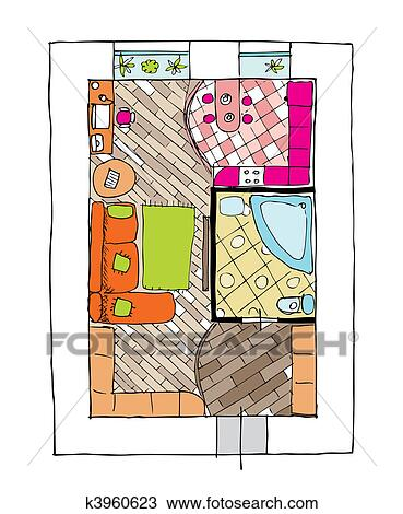 Clipart of Interior design apartments - top view k3960623 ...