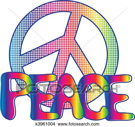 Clipart of PEACE sign and PEACE text k3961004 - Search Clip Art ...