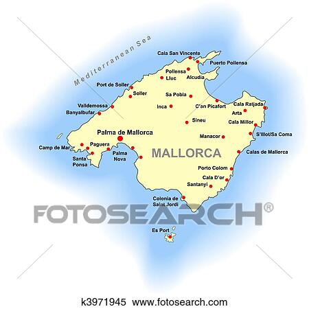 Clipart of Mallorca map k3971945 Search Clip Art Illustration