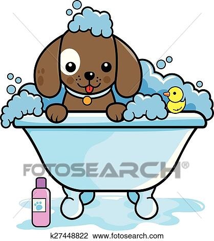clipart of dog taking a bath k27448822 search clip art rh fotosearch com popcorn tub clipart tub clipart images