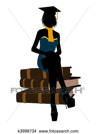 drawing female graduate illustration silhouette fotosearch search clip art illustrations wall posters