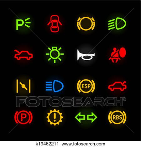 Clipart Of Car Dashboard Icons K19462211 Search Clip Art