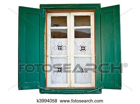 images fen tre bois peint vert volets k3994058 recherchez des photos des images des. Black Bedroom Furniture Sets. Home Design Ideas
