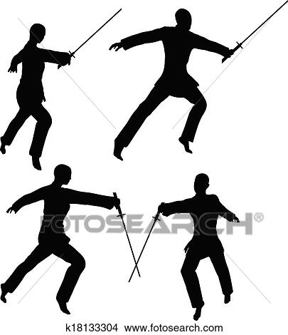 Clipart of Karate martial art silhouettes of men and women in ...