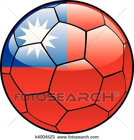 手绘图 - 台湾, 旗, 在上, 足球图片