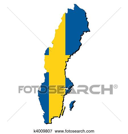 Stock Illustration Of Sweden Map Flag K Search EPS - Sweden map search