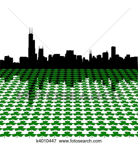 Stock Illustration of Chicago skyline with shamrocks k4010447 ...