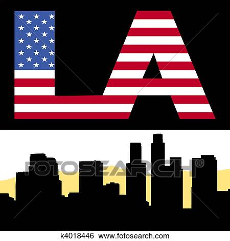Clipart of grunge los angeles skyline with text k7362301 search los angeles skyline with flag text sciox Gallery