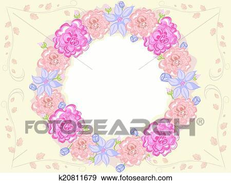 Clip Art Of Shabby Chic Floral Frame K20811679