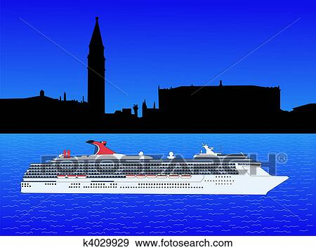 Stock Illustration Of Cruise Ship In Venice K Search - Cruise ship drawings