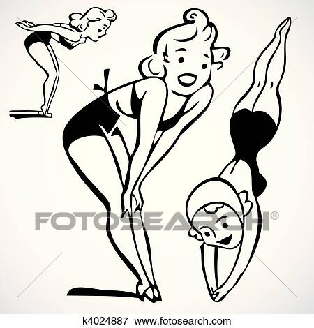Clip Art Of Vector Vintage Woman Swimming K4024887