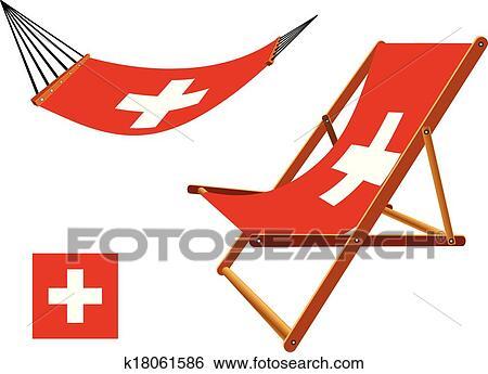 clipart suisse hamac et chaise longue k18061586 recherchez des cliparts des. Black Bedroom Furniture Sets. Home Design Ideas