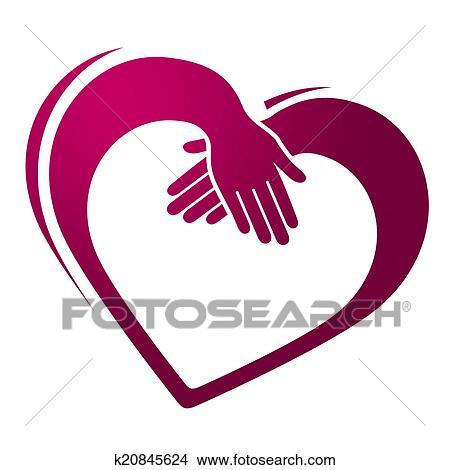 Disegni tenere mani mostra forma cuore e amicizia for Clipart cuore