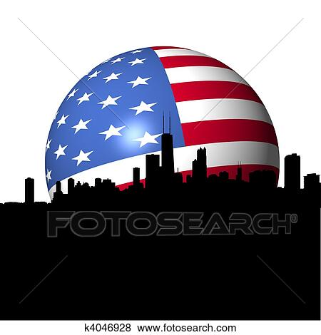 Stock Illustration of Chicago Skyline with American flag sphere ...