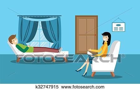 Clipart of Psychologist office cabinet room vector illustration ...