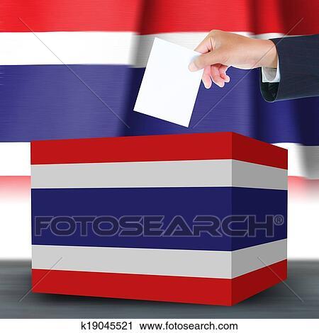 clipart hand mit stimmzettel und kasten auf fahne von thailand k19045521 suche clip. Black Bedroom Furniture Sets. Home Design Ideas