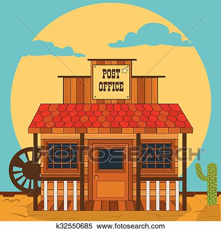 clipart of old western building post office k32550685 search rh fotosearch com old west clipart free old west clipart free