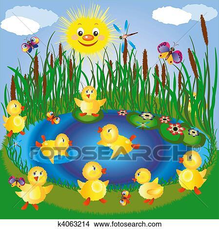 Desenhos lago com ducklings k4063214 busca de for Disegni di laghi