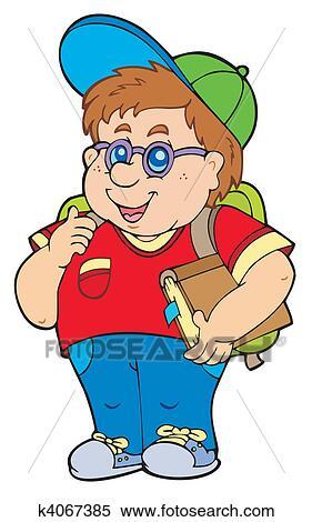 Clipart of Fat school boy k4067385 - Search Clip Art, Illustration ...