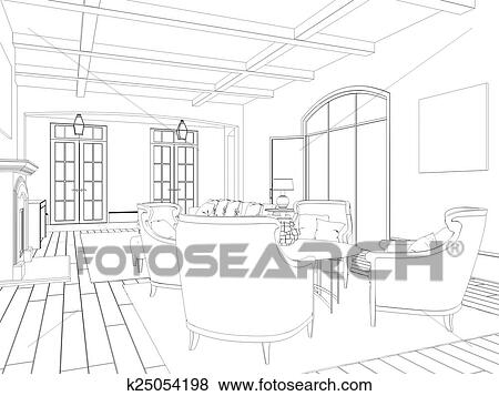 Stock Illustration of Sketch of the living room k25054198 - Search ...