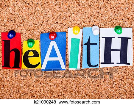 Pictures of the word health in cut out magazine letters pinned to a picture the word health in cut out magazine letters pinned to a cork not spiritdancerdesigns Images