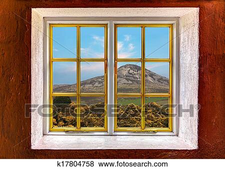 picture window frame with cut out windows to be used as template fotosearch