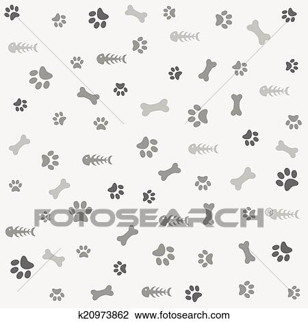 Clipart of Background with dog paw print, bone k20973862 - Search ...