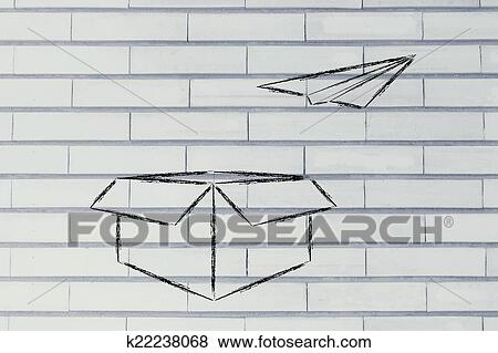 Stock Illustration Of Paper Airplane Flying Our Of A Box Think - Box paper airplane