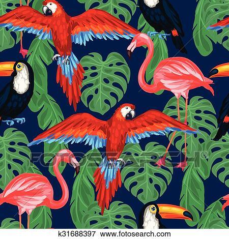 剪贴画 - 热带, 鸟, seamless, 模式, 带, 手掌树叶.图片