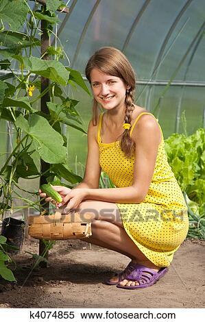 фото девушка дрожат огурцом