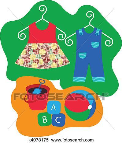 Kleiderständer clipart  Clipart - babykleidung, hängen, kleiderständer, und, baby ...