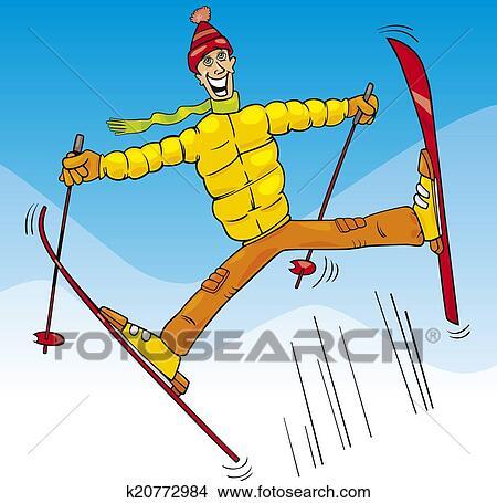 clipart of man jump on ski cartoon illustration k20772984 - search
