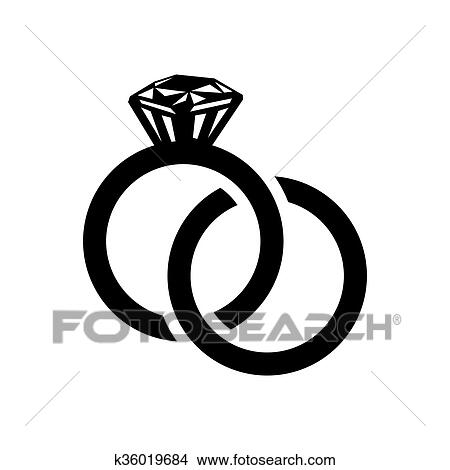 Drawings of Wedding rings simple icon k36019684 Search Clip Art