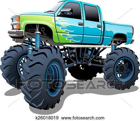 clip art of cartoon monster truck k26018019 search clipart rh fotosearch com monster truck clipart free monster truck wheel clipart