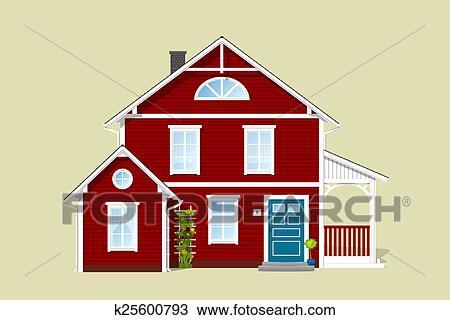 手绘图 - 红, 房子