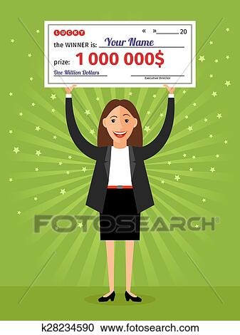 Clipart of Woman with check for one million dollars in hands ...