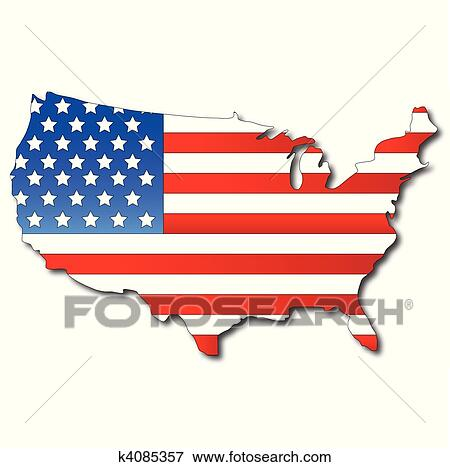 Clip Art Of American Flag On A USA Map K Search Clipart - Usa map graphic