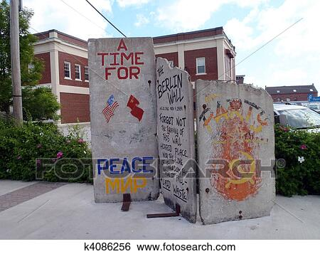 Stock Images of Three pieces of the berlin wall - Portland Maine ...