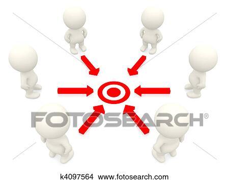 手绘图 - 3d, 配合, 目标