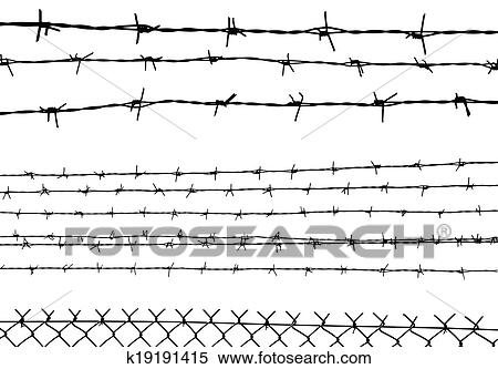 barbed wire fence drawing. Clipart - Silhouette Of The Barbed Wire Isolated On White, Vector. Fotosearch Search Fence Drawing