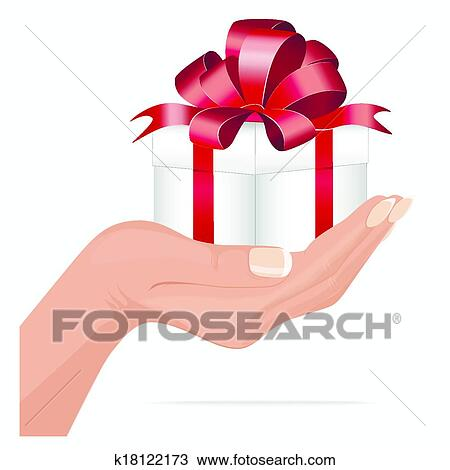 Clipart of gift for you hand holding gift box k18122173 search clipart gift for you hand holding gift box fotosearch search clip art negle Image collections