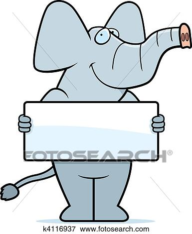 Clip Art of Elephant Sign k4116937 - Search Clipart ...