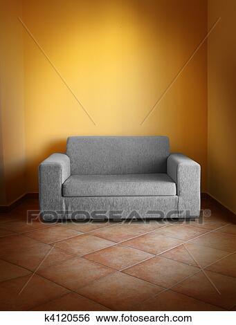 Archivio di Immagini - grigio, divano, giallo, parete k4120556 - Cerca Archivi fotografici, Foto ...