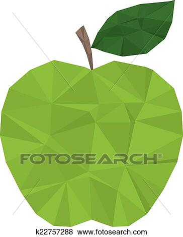 剪贴画 - 绿色的苹果, polygonal, 现代图片