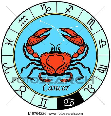 clip art of cancer zodiac sign k19764226 search clipart rh fotosearch com zodiac clipart free zodiac clipart