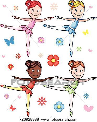 剪贴画 - 卡通漫画, 小女孩, 芭蕾舞女演员, 放置图片